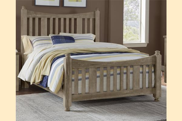 VB Artisan & Post  Maple Road-Weathered Gray Queen Slat Poster Bed