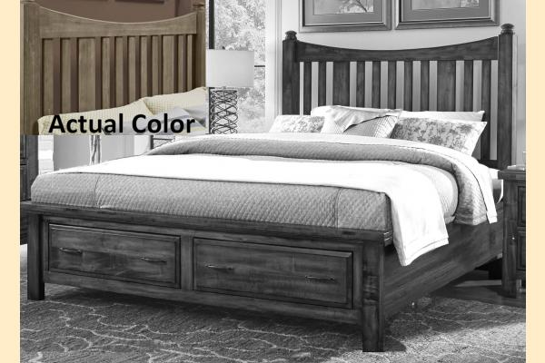VB Artisan & Post  Maple Road-Weathered Gray Queen Slat Poster Storage Bed