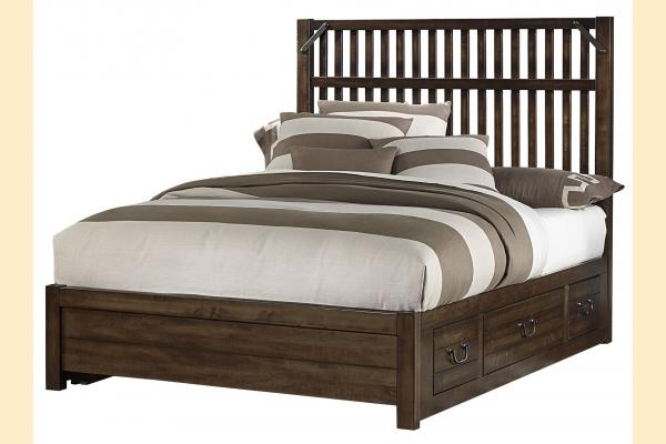 VB Artisan & Post  Sedgwick-Classic Dark Maple Queen Elevator Slat Bed w/ Two Side Storage
