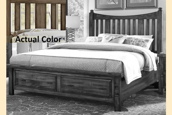 VB Artisan & Post  Maple Road-Maple Syrup King Slat Poster Storage Bed