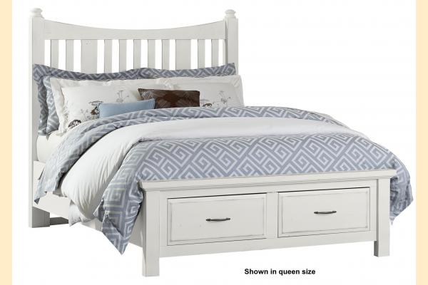 VB Artisan & Post  Maple Road-Chalky White Queen Slat Poster Storage Bed