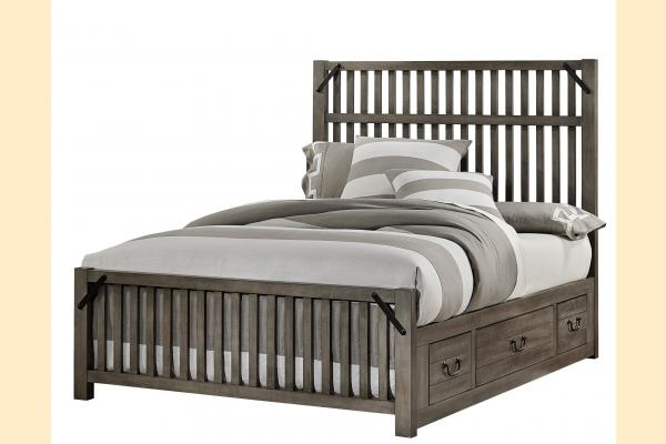 VB Artisan & Post  Sedgwick-Earl Grey Queen Elevator Slat Bed w/ One Side Storage
