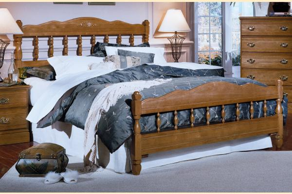 Carolina Furniture Carolina Oak Queen Spindle Bed