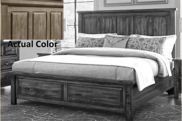 VB Artisan & Post  Maple Road-Weathered White Queen Mansion Storage Bed