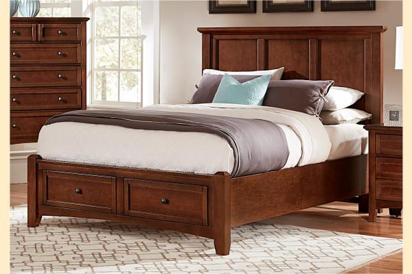 Vaughan Bassett Bonanza-Cherry King Mansion Storage Bed