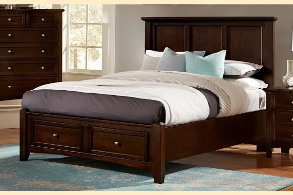 Virginia House Ponderosa-Merlot Queen Mansion Storage Bed