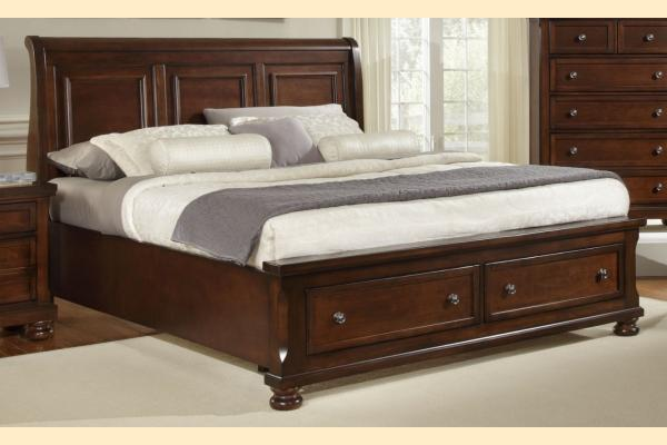 Virginia House Impressions-Dark Cherry Queen Sleigh Storage Bed