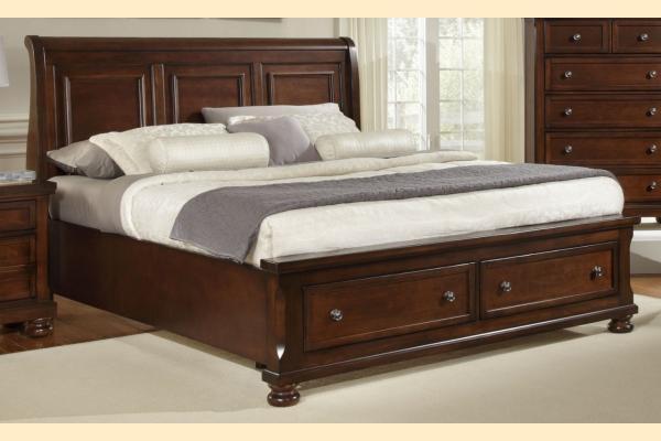 Virginia House Impressions-Dark Cherry Queen Sleigh Storage Bed