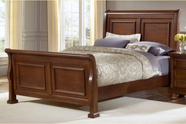 Vaughan Bassett Reflections-Medium Cherry Queen Sleigh Bed