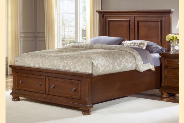 Vaughan Bassett Reflections-Medium Cherry Queen Mansion Storage Bed