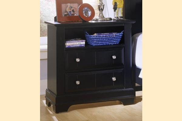 Vaughan Bassett Cottage-Black Commode - 2 Drawers and Shelf