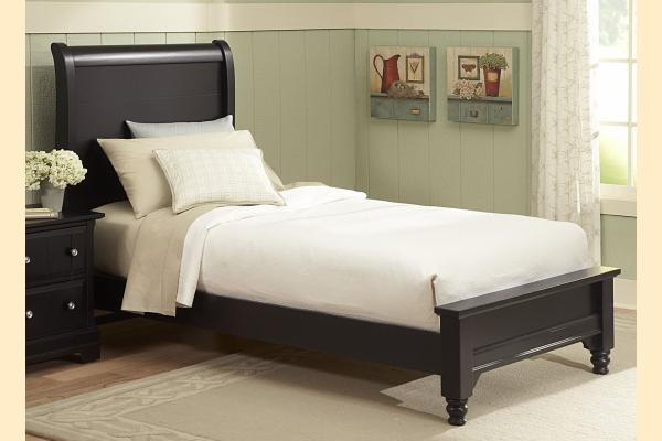 Vaughan Bassett Cottage-Black Twin Sleigh Platform Look Bed