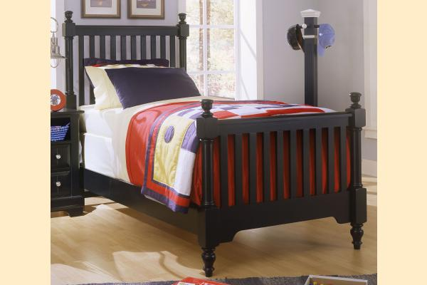 Vaughan Bassett Cottage-Black Twin Slat Poster Bed