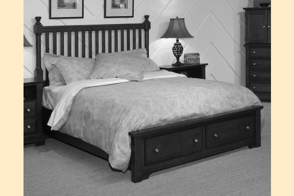 Vaughan Bassett Cottage-Black Queen Slat Poster Storage Bed