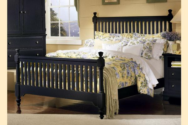 Vaughan Bassett Cottage-Black Queen Slat Poster Bed