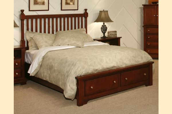 Vaughan Bassett Cottage-Cherry Twin Slat Poster Storage Bed