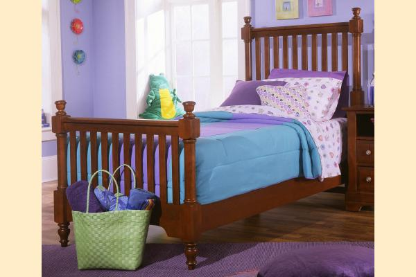 Vaughan Bassett Cottage-Cherry Twin Slat Poster Bed