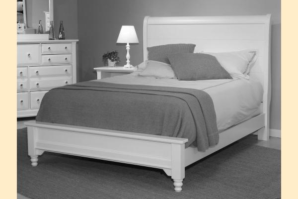 Vaughan Bassett Cottage-Cherry Queen Sleigh Platform Look Bed