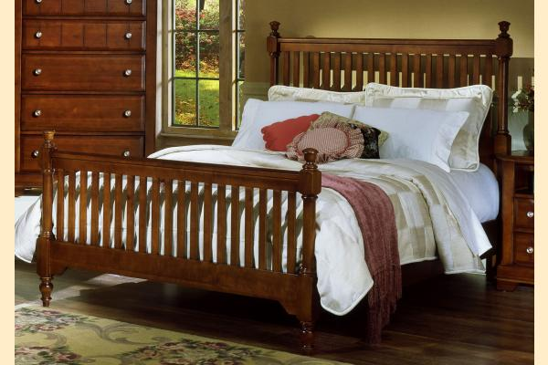 Vaughan Bassett Cottage-Cherry Queen Slat Poster Bed