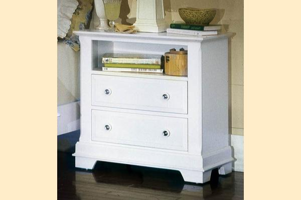 Vaughan Bassett Cottage-Snow White Commode - 2 Drawers and Shelf