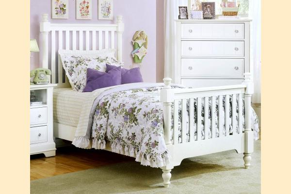 Vaughan Bassett Cottage-Snow White Twin Slat Poster Bed