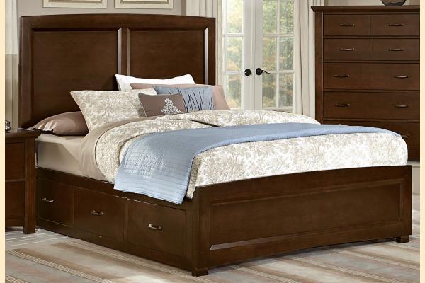 Vaughan Bassett Transitions-Dark Cherry Queen Panel Storage Bed w/ Storage on Both Sides