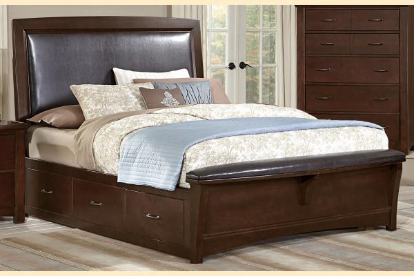 Vaughan Bassett Transitions-Dark Cherry Queen Upholstered Storage Bed w/ Storage on Both Sides