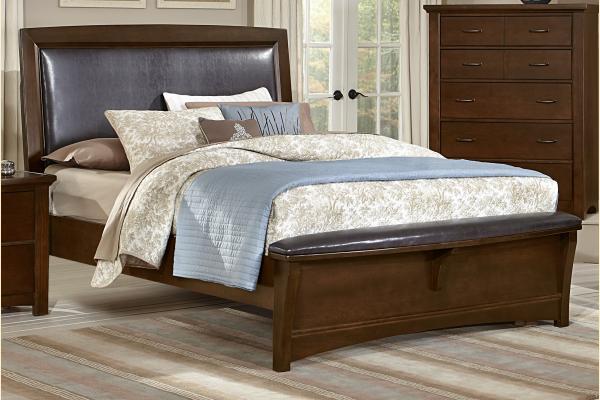 Vaughan Bassett Transitions-Dark Cherry Queen Upholstered Bed