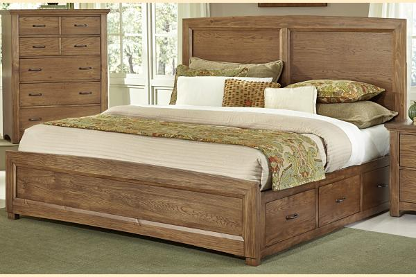 Vaughan Bassett Transitions-Dark Oak Queen Panel Storage Bed w/ Storage on Both Sides