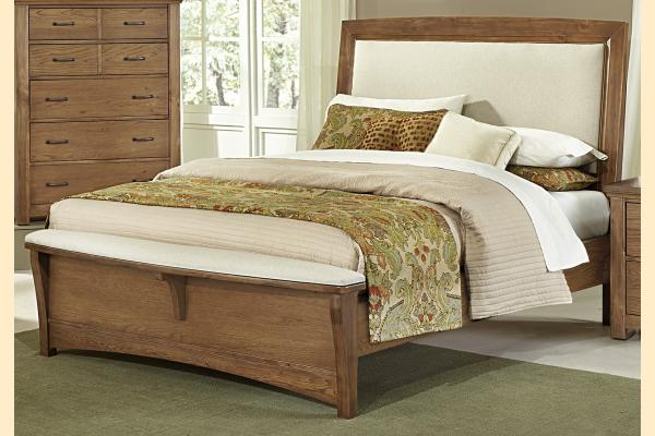 Vaughan Bassett Transitions-Dark Oak Queen Upholstered Bed
