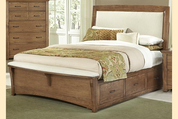 Vaughan Bassett Transitions-Dark Oak King Upholstered Storage Bed w/ Storage on Both Sides