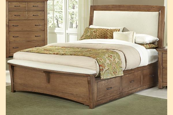 Vaughan Bassett Transitions-Dark Oak King Upholstered Storage Bed w/ Storage on Both Sides