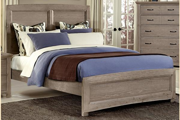 Vaughan Bassett Transitions-Driftwood Oak Queen Panel Bed