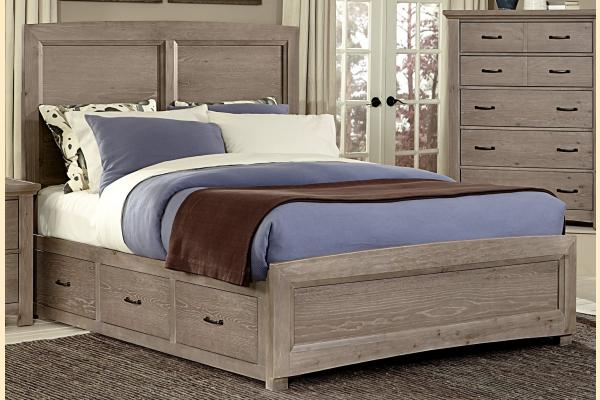 Vaughan Bassett Transitions-Driftwood Oak Queen Panel Bed w/ 1 Sided Storage