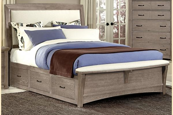 Virginia House Transformations-Driftwood Oak Queen Upholstered Storage Bed w/ Storage on Both Sides