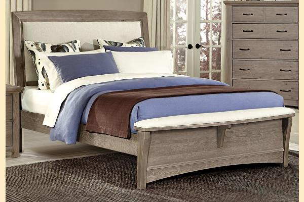Vaughan Bassett Transitions-Driftwood Oak King Upholstered Bed