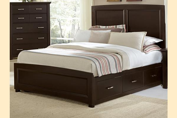 Vaughan Bassett Transitions-Merlot King Panel Bed w/ 1 Sided Storage