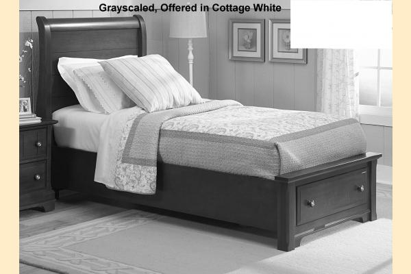 Vaughan Bassett Cottage-Snow White Twin Sleigh Storage Bed
