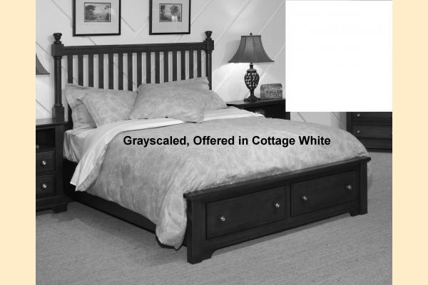 Vaughan Bassett Cottage-Snow White Full Slat Poster Storage Bed