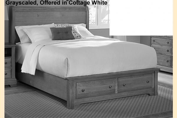 Vaughan Bassett Cottage-Snow White Standard King Sleigh Storage Bed