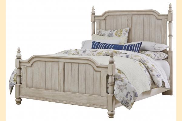 Vaughan Bassett Arrendelle-Rustic White Queen Poster Bed