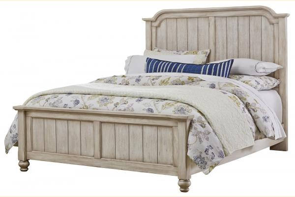 Vaughan Bassett Arrendelle-Rustic White Queen Mansion Bed