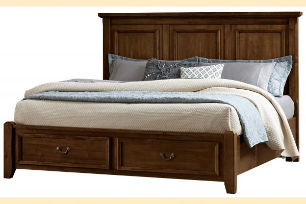 Virginia House Rustic Lodge-Cherry King Mansion Storage Bed