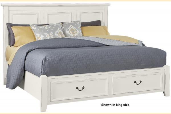 Vaughan Bassett Timber Creek-Distressed White Queen Mansion Storage Bed
