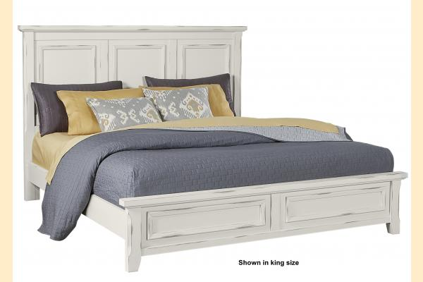 Vaughan Bassett Timber Creek-Distressed White Queen Mansion Bed