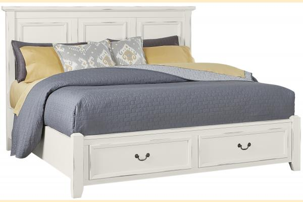 Vaughan Bassett Timber Creek-Distressed White King Mansion Storage Bed