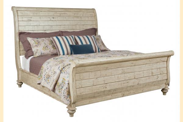 Kincaid Weatherford-Cornsilk Cal-King Lynton Sleigh Bed
