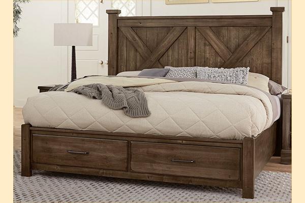 VB Artisan & Post  Cool Rustic-Mink King X Bed W/ Storage Footboard