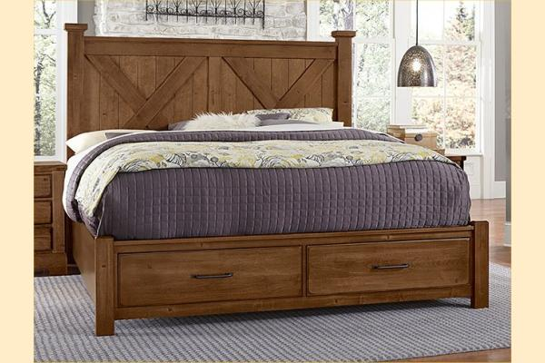 VB Artisan & Post  Cool Rustic-Amber Queen X Bed W/ Storage Footboard