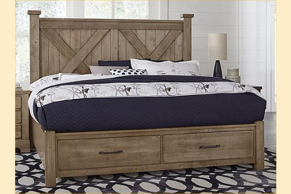 VB Artisan & Post  Cool Rustic-Stone Grey Queen X Bed W/ Storage Footboard
